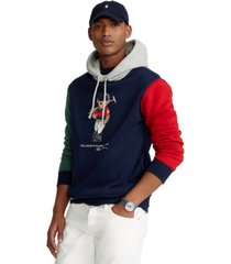 polo ralph lauren men's big & tall polo bear color-blocked fleece hoodie