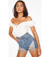 woven stretch zip front off the shoulder crop top, ivory