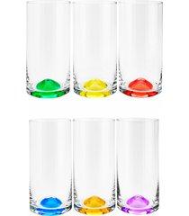 conjunto rojemac 6 copos alto de cristal ecolã³gico set-bar favorit wave colorido - multicolorido - dafiti