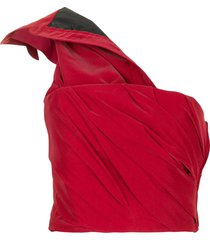 alexander wang one-shoulder crop top - red