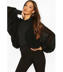 extreme batwing blouse, black