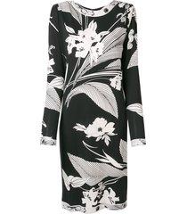 a.n.g.e.l.o. vintage cult 1980's floral midi dress - black