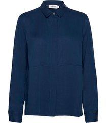 ls tencel side split shirt blouse lange mouwen blauw calvin klein