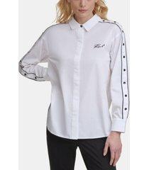 karl lagerfeld paris contrast button snap shirt