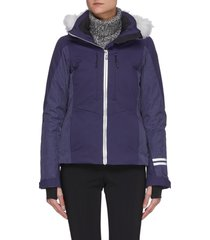 contrast panel fur trim hood ski jacket