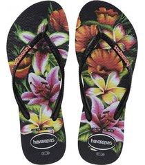 sandalias chanclas havaianas para mujer negro slim floral