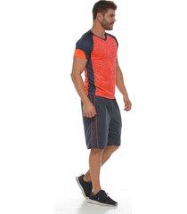 pantaloneta deportiva con pieza contraste naranja racketball para hombre