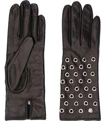 manokhi textured eyelet embellished gloves - black