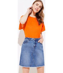 loft frayed denim skirt