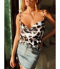 camisola de satén holgada con drapeado de leopardo blanco