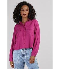 camisa feminina com bolsos manga longa rosa escuro