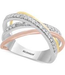 effy diamond statement ring (1/4 ct. t.w.) in 14k gold, 14 white gold & 14k rose gold