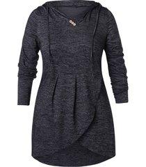 plus size drawstring high low tunic hoodie