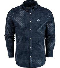gant overhemd donkerblauw met print 3033730/409