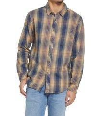 men's billabong coastline check flannel button-up shirt, size x-large - blue
