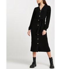 river island womens black button front tie waist midi dress