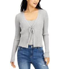 hooked up by iot juniors' pointelle tank & cardigan set