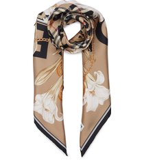 archive check floral graphic print silk scarf