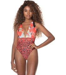 traje de baño coral-multicolor maaji swimwear rainbow plunge one piece