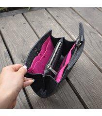filcowy portfel - grafit z różowym wnętrzem
