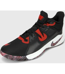 tenis basketball negro-rojo nike fly.by mid