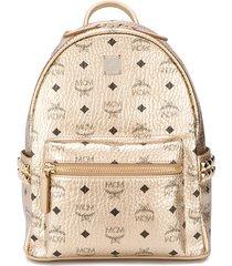 mcm all over logo print backpack - gold