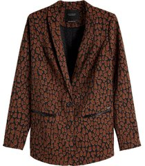 longer length tailored blazer in stretch jacquard