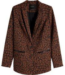 longer length tailored blazer in stretch jacquard