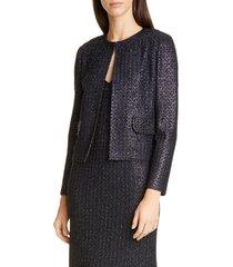 women's st. john evening beaded metallic texture knit jacket