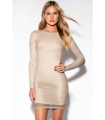 rebecca stella mesh long sleeve dress - nude
