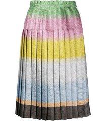 marco de vincenzo colour-block pleated skirt - green