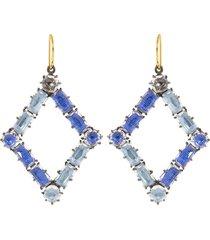azure and chambray white quartz caterina rhombus earrings