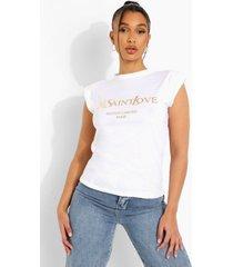 mouwloos ye saint love shirt, cream