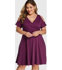 yoins plus size purple wrap design cold shoulder dress