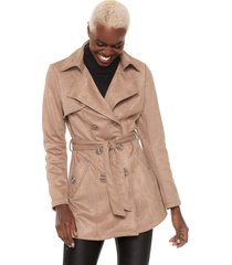 casaco trench coat facinelli by mooncity alongado bege - bege - feminino - poliã©ster - dafiti