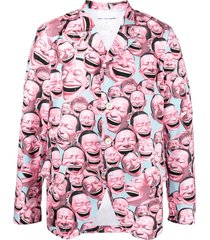 comme des garçons shirt graphic print single-breasted blazer - pink