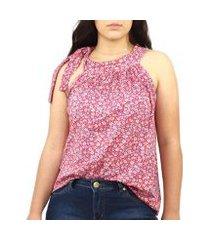 blusa feminina regata floral florida amarração viscolycra