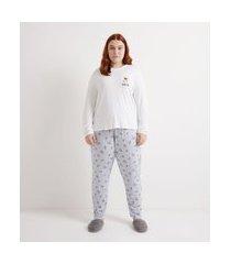 pijama blusa manga longa e calça em viscolycra estampa de cachorrinhos curve & plus size | ashua curve e plus size | branco | gg