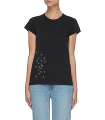 embroidered scatter heart knit t-shirt