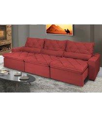 sofã¡ lisboa 3,52m retrã¡til, reclinã¡vel, molas no assento e almofadas lombar tecido suede vermelho - incolor - dafiti