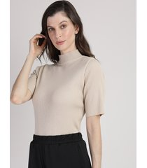 blusa de tricô feminina mindset canelada manga curta gola alta bege claro