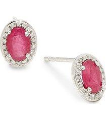 diana m jewels women's 14k white gold, ruby & 0.10 tcw diamond stud earrings