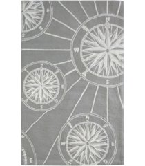 """liora manne frontporch compass black and gray 3'6"""" x 5'6"""" area rug"""