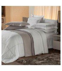jogo de cama solteiro plumasul premium harmonious 3 pçs bordado cinza