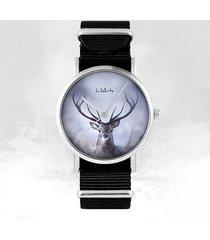zegarek - jeleń - czarny, nylonowy, unisex
