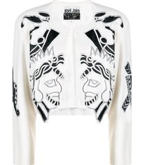 a.n.g.e.l.o. vintage cult 1980s embroidered motif cropped jacket -