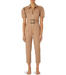 weworewhat belted puff-sleeve jumpsuit - burnt olive - size xs