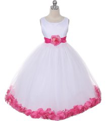 white dress fuchsia sash and flower petals bridesmaid pageant flower girl dress