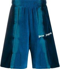 palm angels tie-dye effect track shorts - blue