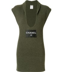 chanel pre-owned cashmere plunge-neck dress - green